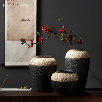 New Chinese style ceramic vase furnishing articles manually zen retro creative flower arrangement sitting room porch soft adornment between example