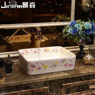 JingYan cartoon art stage basin square ceramic lavatory basin of children kindergarten basin on the sink
