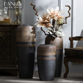 Ground vase Chinese style restoring ancient ways in dry flower porcelain hotel villa large sitting room ceramic furnishing articles coarse pottery by hand
