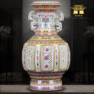 Jingdezhen ceramics vase luxury Chinese thin foetus enamel hollow-out ivory porcelain home sitting room adornment is placed
