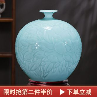 Jingdezhen ceramics vases, flower arranging new Chinese style living room rich ancient frame furnishing articles shadow green pomegranate bottles of home decoration