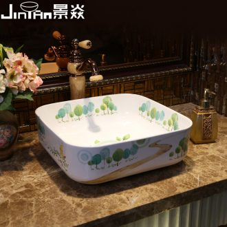 JingYan mountain trail art stage basin square ceramic lavatory household basin basin on the sink