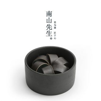 Nanshan Mr Black pottery tea wash your handmade ceramic big kung fu tea set writing brush washer cup tea to wash the zen tea personality