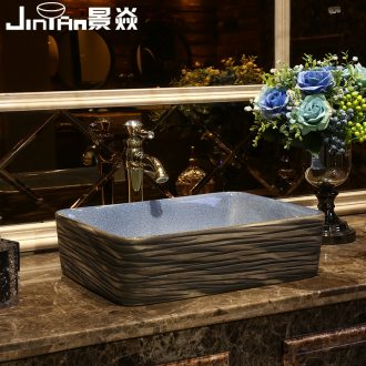JingYan carved line art on the stage basin ancient ceramic lavatory basin archaize rectangle on the sink