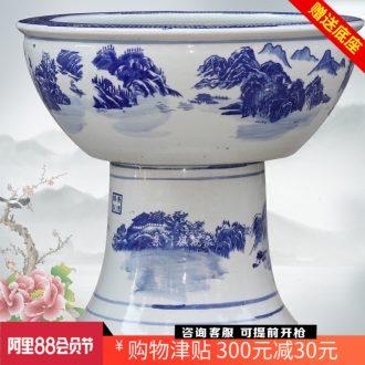 Jingdezhen porcelain ceramic aquarium fish bowl jiangnan water turtle cylinder sitting room study office furnishing articles