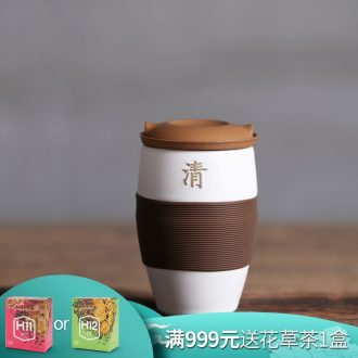 Million kilowatt/hall office cup archaize ceramic creative anti hot water bottle with filter tank with cover large cup qing ning cup