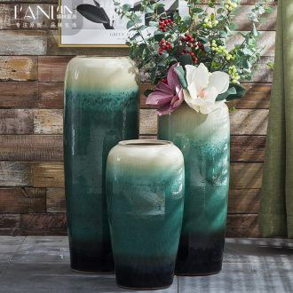 European landing big ceramic vase sitting room of contemporary and contracted hotels puts jingdezhen dried flower simulation flower vase