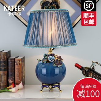 Cartel colored enamel porcelain lamp type of new Chinese style luxurious bedroom berth lamp house sitting room lighting