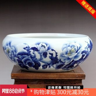 Jingdezhen ceramics hand-painted water lily bowl lotus goldfish turtle cylinder for peony bamboo fish bowl year after year shallow water