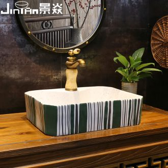 JingYan green line art stage basin rectangle contracted ceramic lavatory household on the sink basin