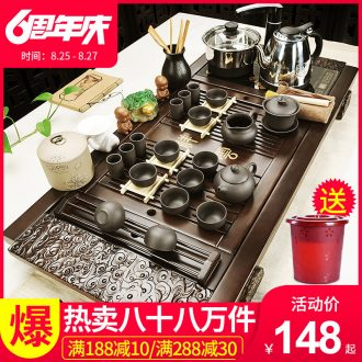 Beauty cabinet violet arenaceous kung fu tea set household contracted ceramic cups magnetic electric furnace tea tea solid wood tea tray