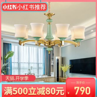 European-style full copper chandelier luxury atmosphere American ceramic sitting room dining-room lamp contracted rural copper lamp sweet bedroom light