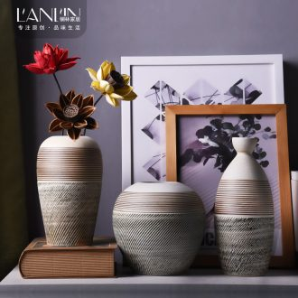 Contemporary and contracted sitting room desktop ceramic vase to restore ancient ways the small pure and fresh and dried flower flower flower implement coarse pottery furnishing articles