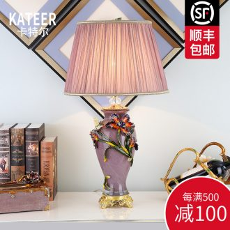 Cartel type colored enamel lamp sitting room luxury villa high-grade atmosphere ceramic lamp of bedroom the head of a bed
