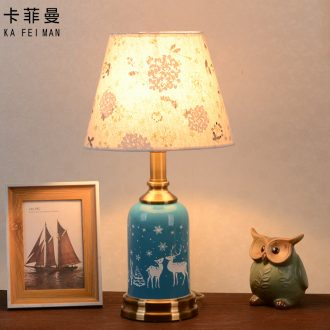 American contracted ceramic desk lamp bedroom home warm and romantic wedding room european-style Nordic ins girl bedside lamp