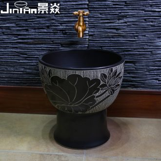 Chinese art JingYan mop pool vintage black ceramic basin bathroom wash mop mop pool balcony mop pool