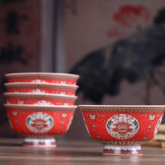 Jingdezhen ceramic gifts prevent hot tall bowl bone porcelain antique Chinese big bowls of rice bowls noodles in soup bowl bowl of soup bowl