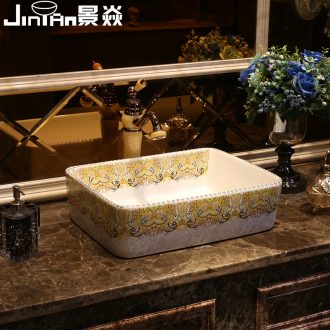 JingYan American basin stage basin of continental basin bathroom ceramic lavatory rectangle art on the sink