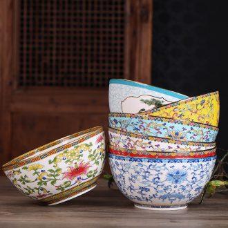 Jingdezhen manual paint side job new bone China large single Chinese style of the ancients longevity soup bowl rainbow noodle bowl of porridge bowl bowl