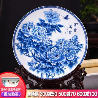 Hang dish of blue and white porcelain of jingdezhen ceramics decoration plate archaize sitting room ark of new Chinese style TV ark furnishing articles