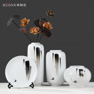 New Chinese zen vase furnishing articles ceramic decoration simple porch home sitting room TV ark flower arranging flowers