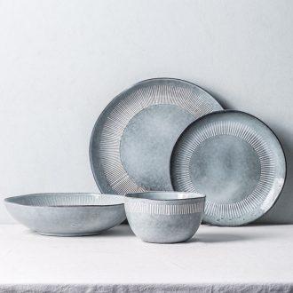 Million jia household ceramics tableware bowls 0 breakfast fruit salad bowl game the individual personality flat restoring ancient ways