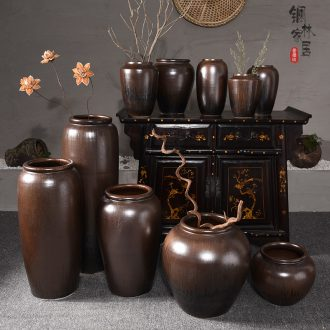 Jingdezhen ceramic vase landing large sitting room porch Chinese hydroponic flower arranging furnishing articles, handmade pottery restoring ancient ways