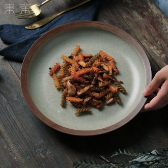 Soup plate ceramic plate household dish platter flat plate of pasta dishes western food steak plate plate restoring ancient ways