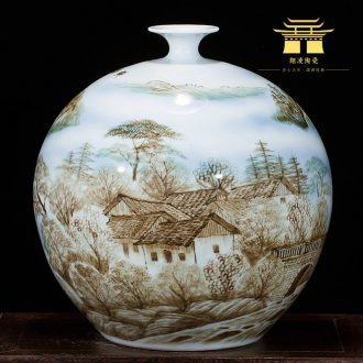 Jingdezhen ceramics landscape painting hand-painted enamel vase furnishing articles new Chinese style household act the role ofing is tasted the sitting room porch decoration