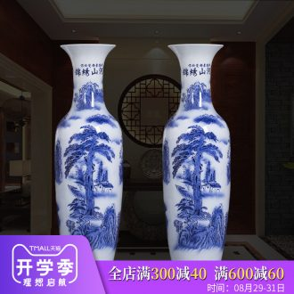 Jingdezhen ceramic large Chinese blue and white porcelain vase furnishing articles sitting room adornment landing large hotel opening gifts