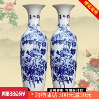 Hand-painted peony landing big vase of blue and white porcelain of jingdezhen ceramics furnishing articles home decoration