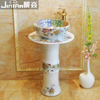 JingYan pillar of European art basin ceramic pillar type lavatory basin basin vertical lavabo one-piece column