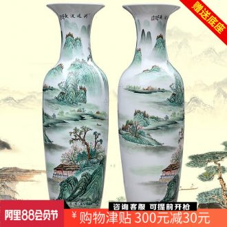 Jingdezhen ceramics of large vase has a long history in the hand draw pastel landscape porcelain sitting room adornment is placed