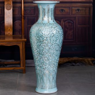 Jingdezhen big hand paint ceramic vase furnishing articles sitting room be born Chinese celadon decoration hotels high-grade decoration