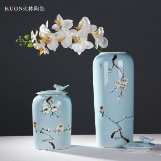 New Chinese style classical jingdezhen ceramics hand-painted decorative pot vase home sitting room TV ark soft adornment is placed