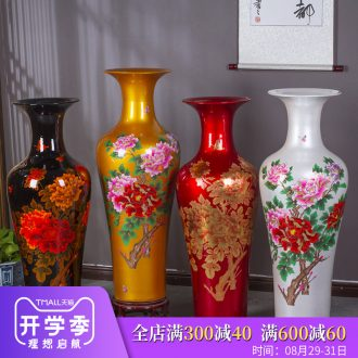 Jingdezhen ceramics glaze peony big crystal vase modern Chinese style living room floor furnishing articles hotel decoration decoration
