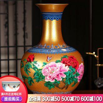 Jingdezhen ceramics European golden peony of large vases, flower arrangement of Chinese style living room porch TV ark furnishing articles