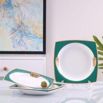 Jingdezhen European creative square plate bone porcelain ceramic dishes soup plate household steak dishes suit deep plate