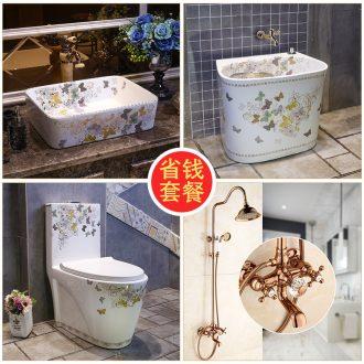 JingYan butterflies series save money that defend bath suit on the ceramic bowl + + toilet, european-style flower is aspersed mop pool