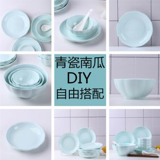 Dishes suit household free combination dishes chopsticks tableware ceramics from a single bowl big rainbow noodle bowl of soup plates