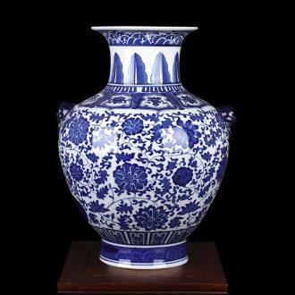 Blue and white porcelain of jingdezhen ceramics ocean's ears bottle large vases, flower arranging archaize sitting room porch place decorations