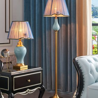 American whole copper ceramic contracted sitting room floor lamp study adornment bedroom warmth creative light excessive vertical lamps and lanterns