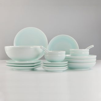 JingDe clouds cloud blue glaze meal apparatus in high temperature set of jingdezhen blue glaze three 6 people with tableware