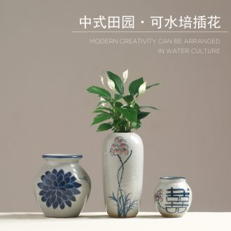 Chinese style flower implement ceramic vase sitting room furnishing articles retro rural household table study flower arranging dried flower decorations