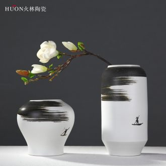 Ceramic vase furnishing articles modern new Chinese style classical decoration zen living room TV ark wine dried flower flower arranging flowers