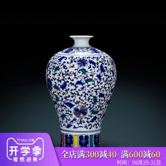 Blue and white porcelain vases, flower arrangement of jingdezhen ceramics antique Chinese style classical home sitting room adornment is placed large