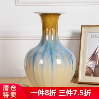 TV ark furnishing articles sitting room adornment kiln ceramic vase crackle apricot dried flowers of modern Chinese style household
