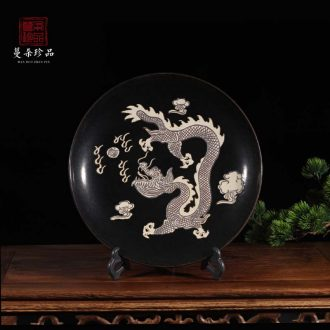 Jingdezhen ancient flavor art dragon decoration plate black plum flower porcelain art personality furnishing articles