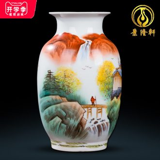 Jingdezhen ceramics hand-painted Chinese famille rose porcelain vase furnishing articles of handicraft wine porch sitting room adornment