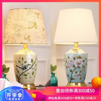 Desk lamp of bedroom nightstand lamp creative adjustable romantic contracted sitting room room warm warm light new Chinese style ceramic lamp